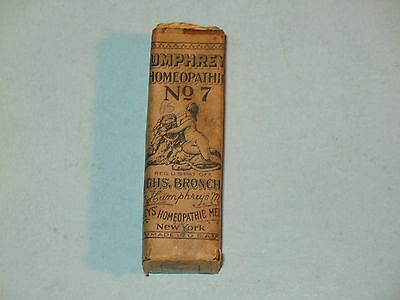 "Humphrey's Homeopathic Bottle #7 Whooping Cough Medicine Antique ""Quack"" ~Full~"