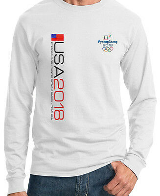 PyeongChang 2018 OLYMPIC WHITE Long sleeve HEAVY T-SHIRT USA