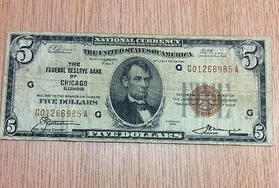 1929 $5 National Currency Chicago Federal Reserve Bank Note Brown Seal