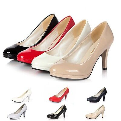 Women Patent Leather Round Toe Stiletto High Heels Platform Pumps Work Shoes Pop