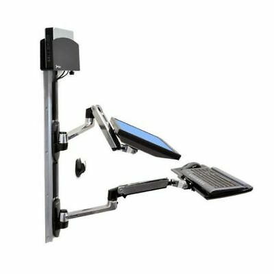 Ergotron LX Wall Mount LCD Arm (Polished Aluminium) with Keyboard and CPU Holder