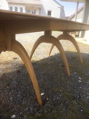 Heywood Wakefield triple wishbone MCM Drop Leaf Dining table Wheat 2 Extensions
