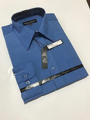 New BRUNO CAPELO Mens Dress Shirt Long Sleeves Cotton Blend French Blue BCDS-106