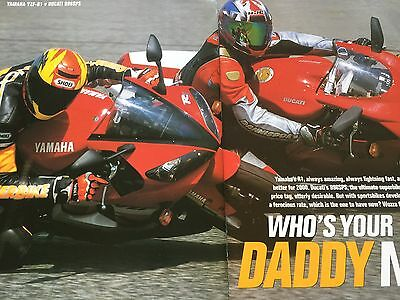 DUCATI 996SPS vs YAMAHA YZF-R1 # 9 PAGE ORIGINAL 2000 MOTORCYCLE ARTICLE #