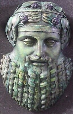 Dionysus Ancient Greek Theater Mask Bronze Copper 13 x 9 Bucchus Roman Antique
