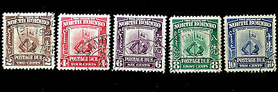 Very Scarce Authentic North Borneo SC# J50-J54 Used Stamps