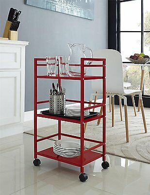 Utility Cart Steel Kitchen With Wheels Rolling 3 Tier Shelf Metal Beach Red New