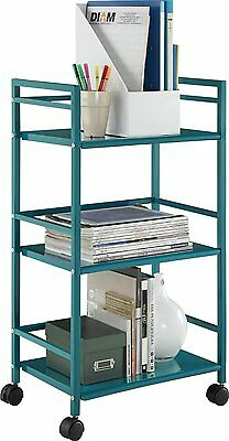 Utility Cart Steel Kitchen With Wheels Rolling 3 Tier Shelf Metal Beach Teal New
