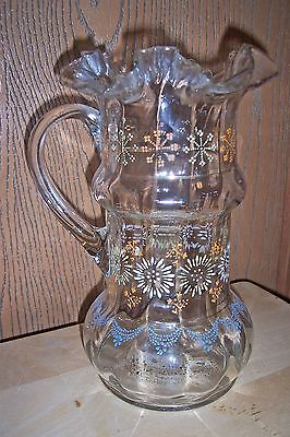 Vintage Hand Blown Clear Glass Painted Raised Floral Ruffle Fluted Edges Pitcher