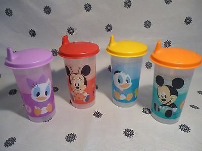 Tupperware 310ml Sippy Cup Set of 4 Bell Tumblers Mickey Minnie Daffy  New!