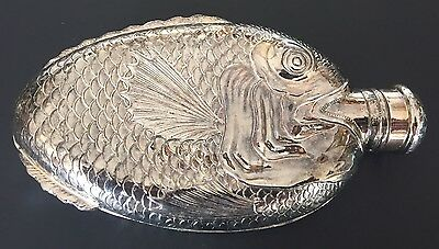 Antique TOWLE Silver Plate Fish Flask