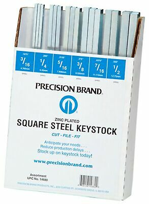 Precision Brand 14680 Square Keystock Assortment, 12″ Length, Size is Clearly...