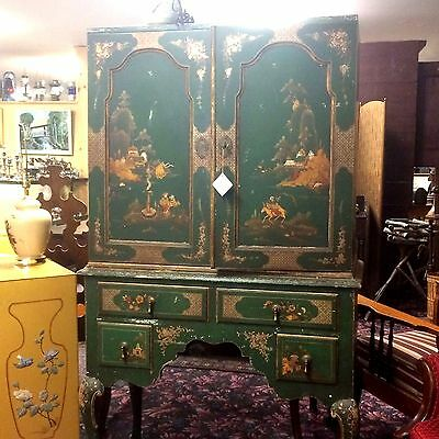 English Queen Anne Style Chinese Lacquered Decorated Highboy Cabinet