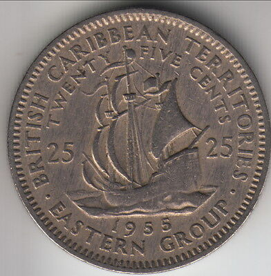1955 East Caribbean Territories (British dependency) 25 cents, KM-6