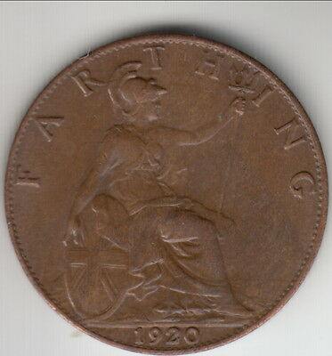 1920 Great Britain farthing, high grade, George V, KM-808.2