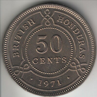 1971 British Honduras 50 cents, scarce mintage of 30,000, uncirculated, KM-28