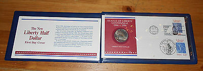 USA 1886 - 1986 New Statue Of Liberty Half Dollar Coin & First Day Cover Holder
