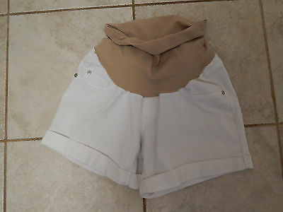 indigo blue maternity white jean shorts S small