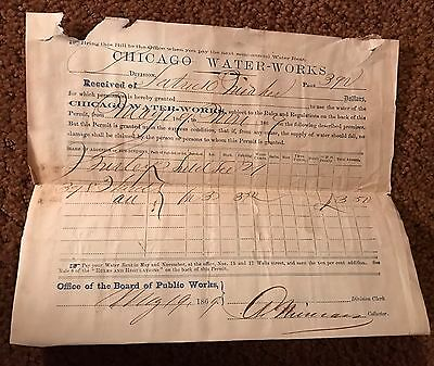 1869 Chicago Illinois Water Works Bill Pre Fire