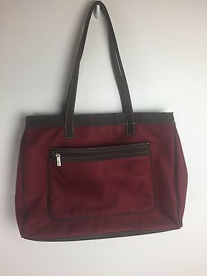 SAK Sangria Red Fabric Brown Leather Trim Computer Bag Briefcase Laptop
