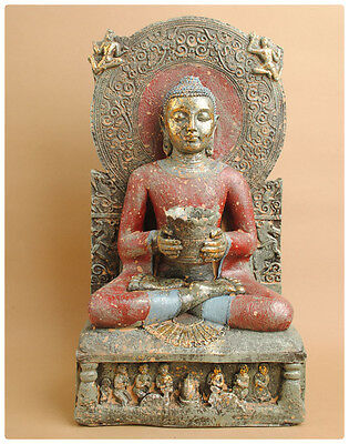Ornate Throned Buddha W/aureole 8 Inch Tunhuang Caves --Resin/weather Resistant