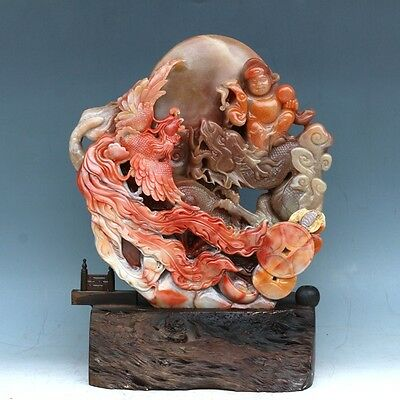 Chinese Exquisite Hand-carved Shou-shan Stone Phoenix and God of Wealth Statue