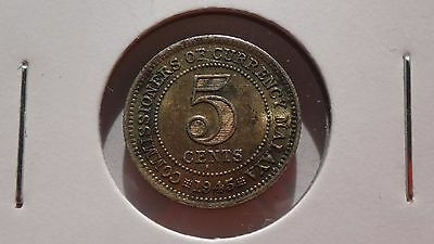 Malaysia 1945 5 Cents Lustre Ef Details 50% Silver Numismatic Coin Malaya