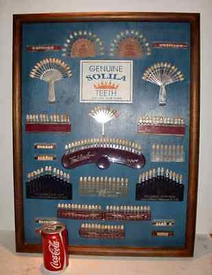 Rare Vintage Large Teak Display Case Dental Teeth Shades