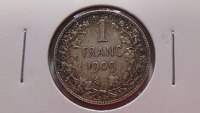 1909 Belguim 1 Franc Silver Coin Ef+ Numi Beautifully Toned High Grade Carded