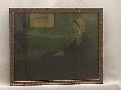 Vintage Art DEco Style Picture Frame w Print of Whistler's Mother