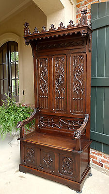 TALL Antique French Carved Oak Gothic Hall Bench Altar Church Cathedral Canopy