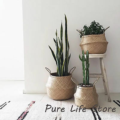 Seagrass Collapsible Round Baskets Storage Plant Pot handle Covers Natural 2 pcs