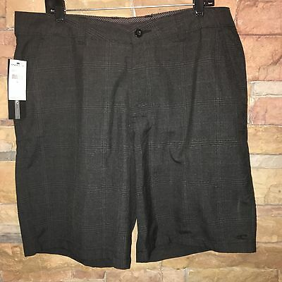Brand New ONEILL Mens Size 36 Black Plaid Casual Shorts