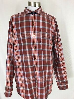 Tommy Bahama Mens L XL Red Blue Plaid Button Down Long Sleeve Shirt