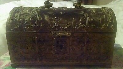 Old- Antique Domed Ornate Floral Bronze/brass Jewelry Box Chest