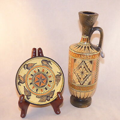 Greek Jug Vase & Plate Handmade Museum Copy 750 Bc Ancient Greece Decor 8 1/2""