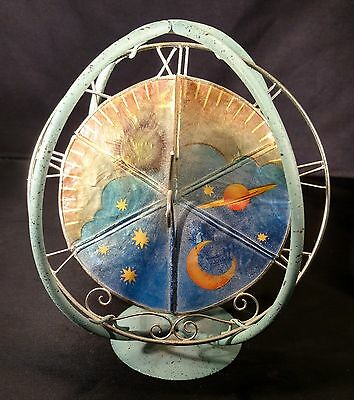 Antique Vintage Look Metal Candle Holder Sundial Sun Dial Clock Decor Wax Scent