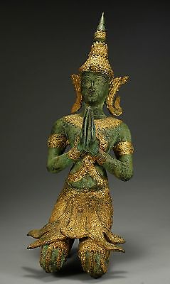 Antique Thai Bronze Figure Of Bodhisattva