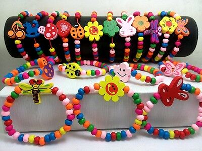 50x MIX Wholesale Kids Children Wood Beads Bracelets Great for Party bag Fillers