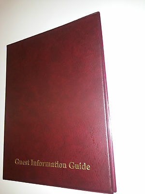 qt2 GUEST INFORMATION GUIDE PVC FOLDER 7 A4 DOUBLE POCKETS REF BURGUNDY/GOLD