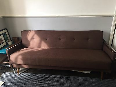 Mid Century 50s 60s Sofa Bed Reupholstered 3 Seater