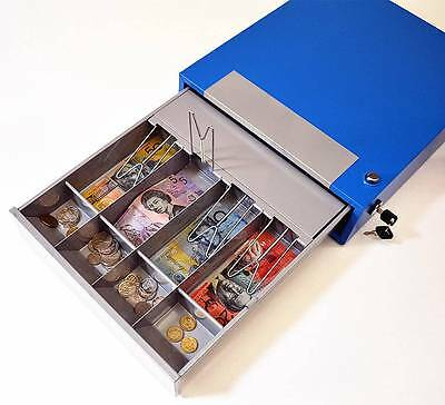 Manual Lockable Steel 4-Compartment Cash Register Box Cash Drawer (#POS35) Blue