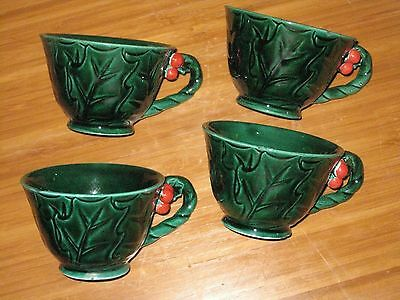 Vtg Green Lefton Christmas Holly Leaf & Berries Footed (4) Tea Cups DISPLAY ONLY