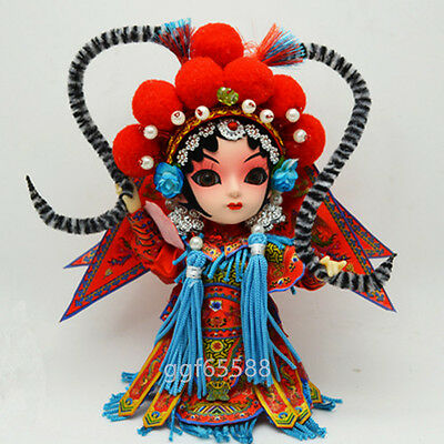 Chinese Handmade Raw Silk Peking Opera Figure Doll Ornament Home Decor Gift