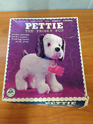 Rare Vintage 1960's Pettie the Frisky Pup - Battery Operated Dog - Mint in Box