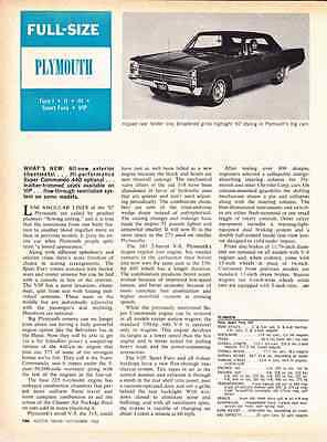 1967 Plymouth Fury   ~   Original New Car Preview Article / Ad