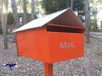 Letterbox Large Orange A4 Mail Box Mailbox Post Pole Solid Powdercoated New
