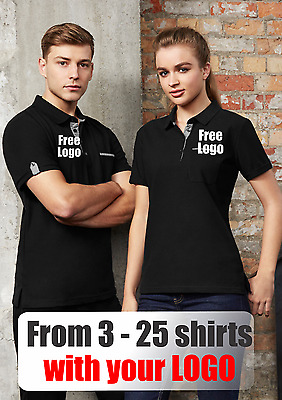 From 3 - 25 shirts Ladies Edge Polo with Your Embroidered LOGO (Biz P305LS)