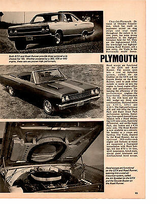 1969 Plymouth Gtx  & Road Runner ~ Original New Car Preview Article / Ad
