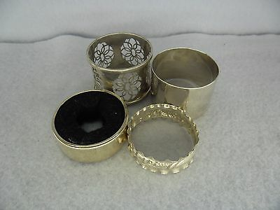 Job Lot of 4 Sterling Solid Silver Napkin Rings